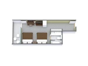 1 Bedroom Boulevard View with 2 Double Beds - E