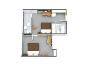 2 Bedroom Pool/Boulevard View with 1 Queen Bed and 1 Double Bed - G