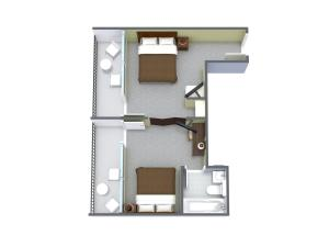 1 Bedroom Pool/Boulevard View with 2 Double Beds - H