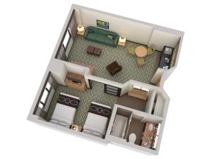 Queen  Suite with Two Queen Beds with Bath Tub - Mobility/Hearing Access - Non-Smoking