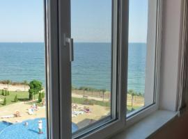 Front of complex Sea View apartment, Panorama Fort Beach (Fort Noks Grand Resort), Włas