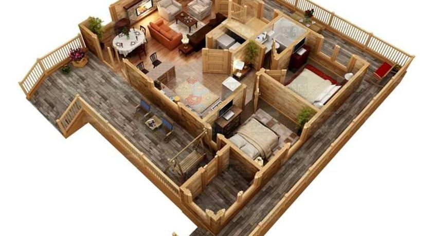 Three-Bedroom House - Floor plans Misty Mountain Hideaway- Three-Bedroom Cabin