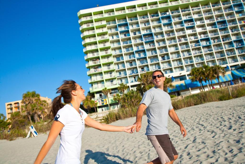 Book Now Coral Beach Resort (Myrtle Beach, United States). Rooms Available for all budgets. This beachfront Myrtle Beach resort features 10 pools which includes a water park lazy river and hot tubs and free WiFi. Broadway at the Beach and Coastal Grand Mall are less