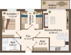 Haus Baltic Cube, Apartmány  Börgerende-Rethwisch - big - 6