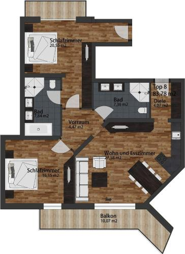 Deluxe Two-Bedroom Apartment South