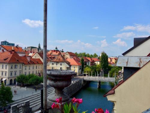 Old Town Terrasse view on Ljubljana River, Ljubljana
