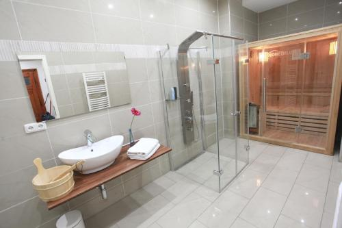 Apartment central sauna loft apartments leipzig saxony for Koi pool and sauna