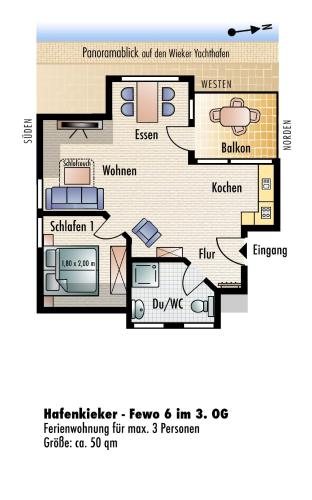 One-Bedroom Apartment with Balcony - Fewo 6