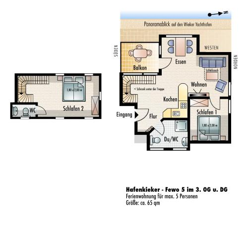 Two-Bedroom Apartment with Balcony - Fewo 5