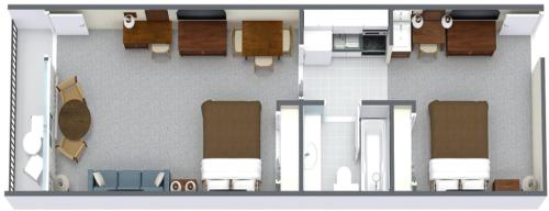 2 Room Oceanfront Efficiency Suite with 2 Queen Beds and 1 Sleeper Sofa - T1