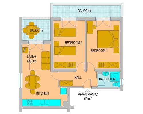 Two-Bedroom Apartment with Balcony and Sofa Bed